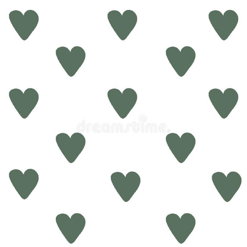 Groene Hartenachtergrond Hartentextuur Mooie Vectorillustratie Romantische kaart Handdrawn hart voor Huwelijksuitnodiging vector illustratie