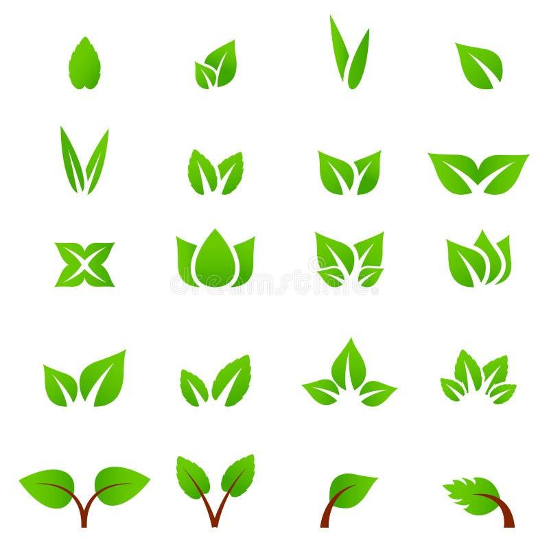 Groene het bladvector van het Ecopictogram stock afbeelding
