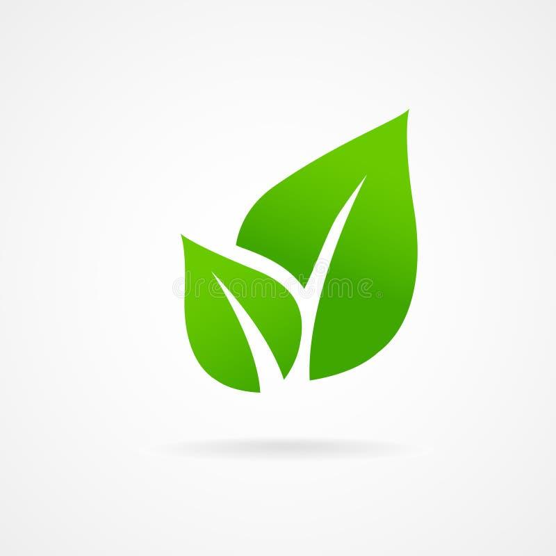 Groene het bladvector van het Ecopictogram royalty-vrije stock afbeelding