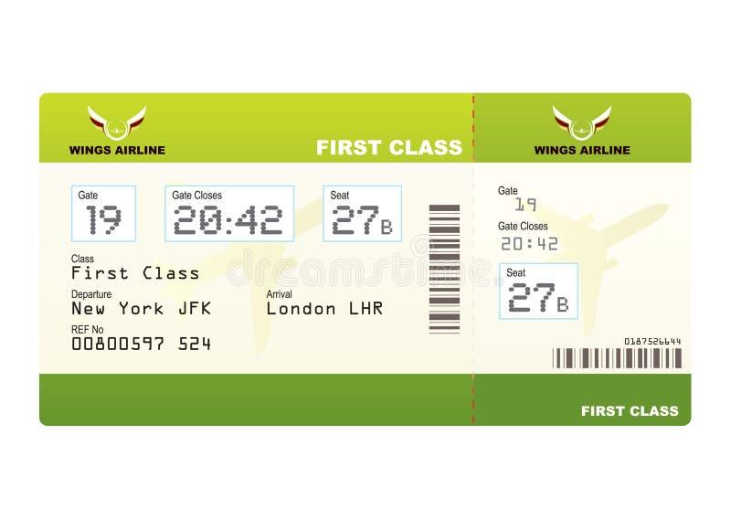 Groene het kaartjes eerste klasse van het vliegtuig royalty-vrije illustratie