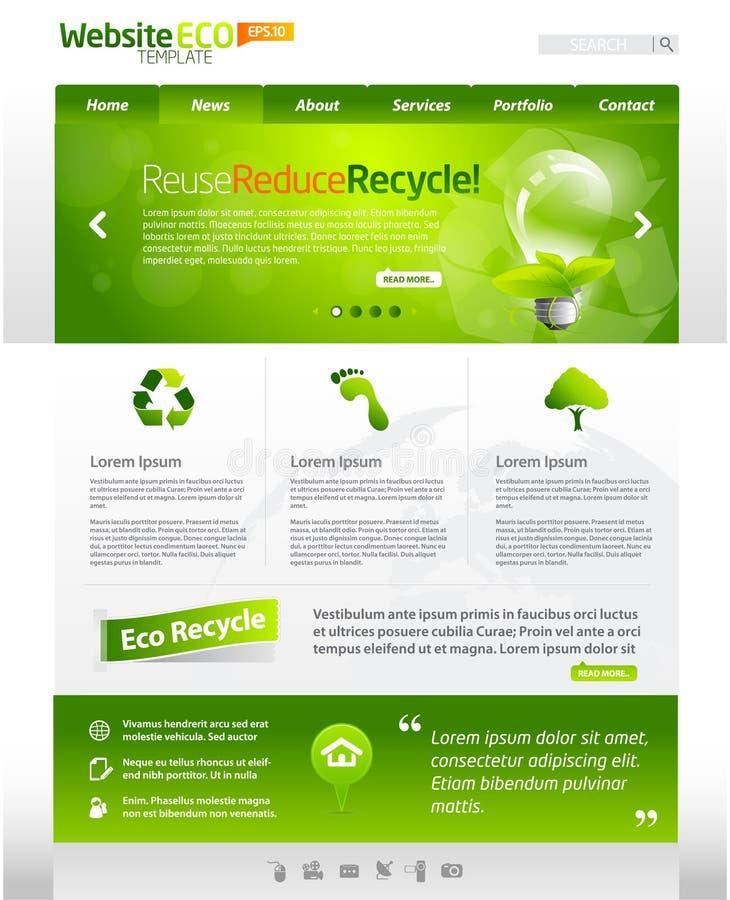 Groene het malplaatjelay-out van het ecoWeb stock illustratie