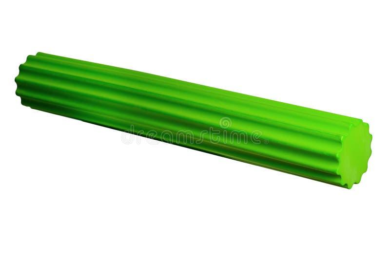 Groene het Materiaal van de de Gymnastiekgeschiktheid van de schuimrol Geïsoleerd op Witte Backgr royalty-vrije stock afbeelding