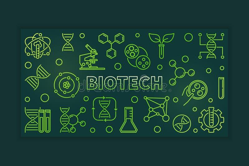 Groene het overzichtsbanner van Biotech - vectorwetenschapsillustratie stock illustratie