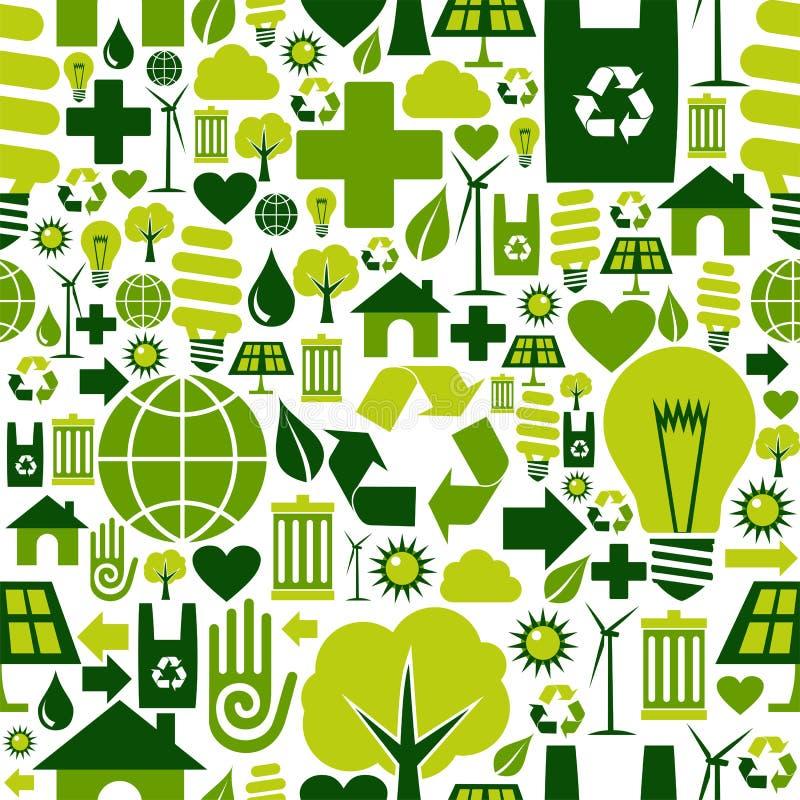 Groene het patroonachtergrond van milieupictogrammen royalty-vrije illustratie