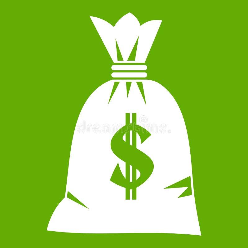 Groene het pictogram van de geldzak royalty-vrije illustratie