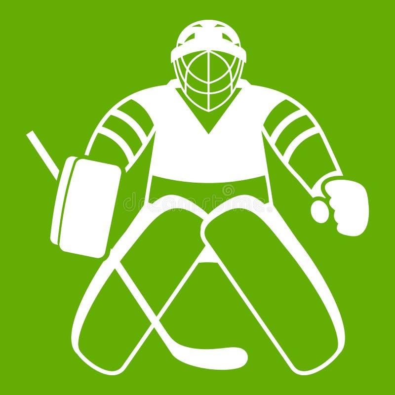Groene het pictogram van de hockeykeeper royalty-vrije illustratie