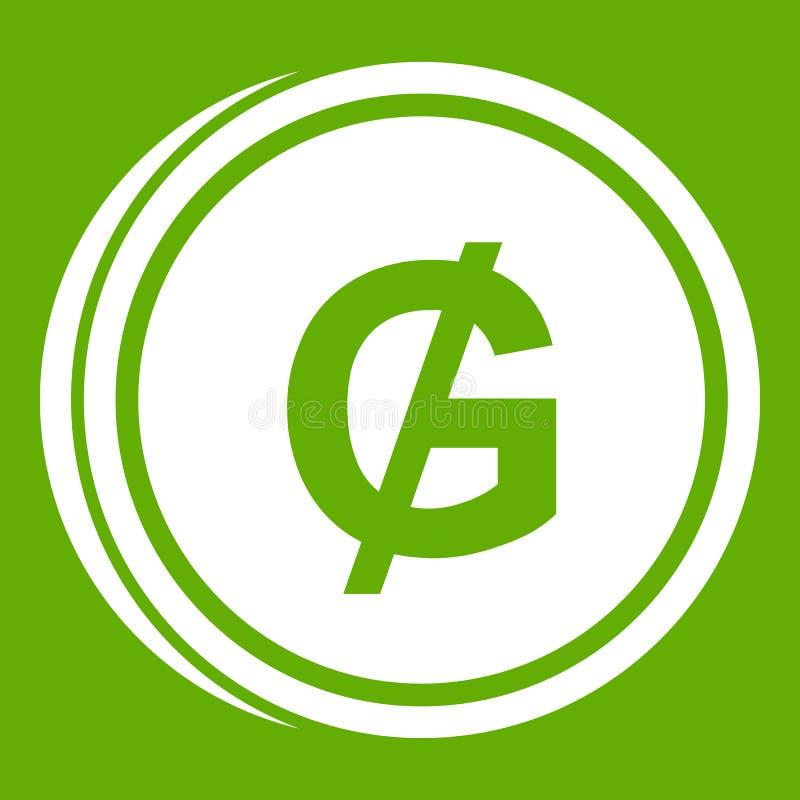 Groene het pictogram van muntstukguaraní royalty-vrije illustratie