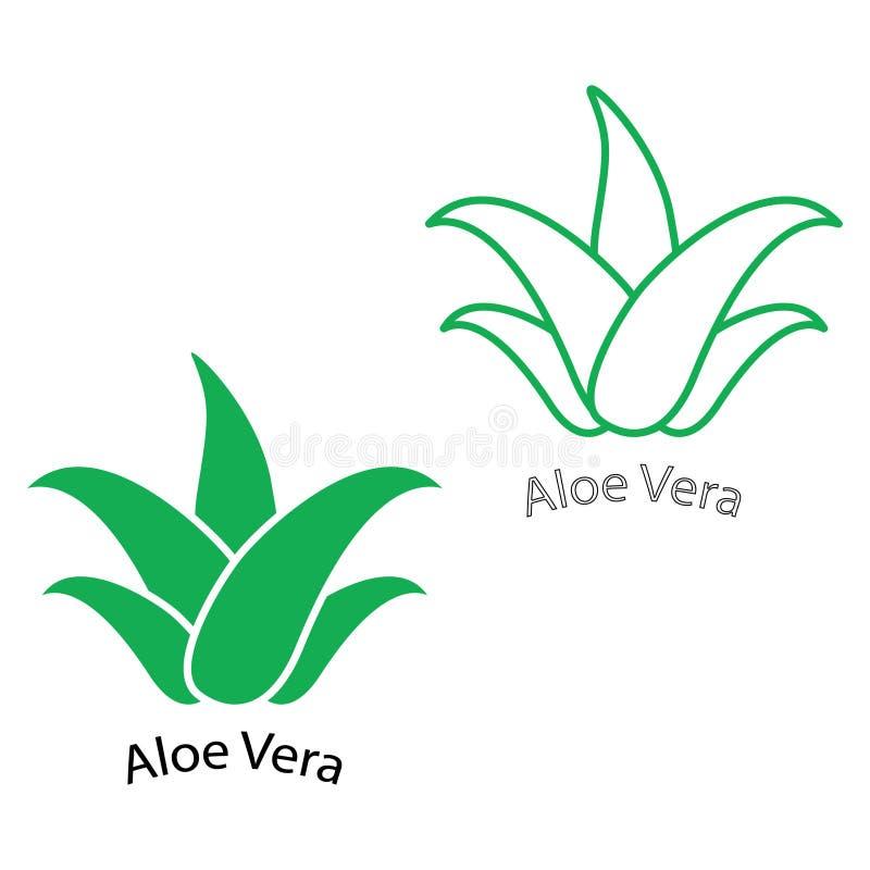 Groene het pictogramreeks van aloëvera Het natuurlijke etiket van het biologisch productpakket Schoonheidsmiddel of vochtinbrenge vector illustratie