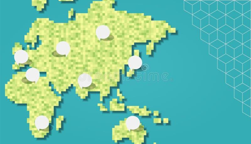 Groene het pixelkaart van Azië en van Europa met lege bellen royalty-vrije illustratie
