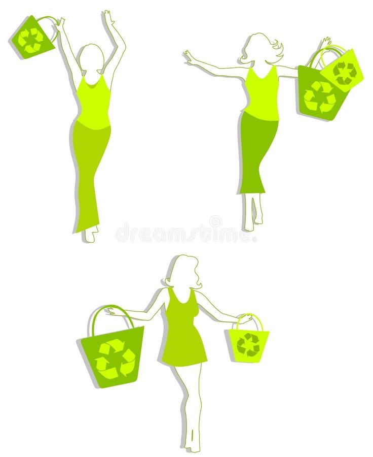 Groene het Winkelen Silhouetten royalty-vrije illustratie