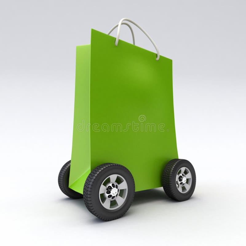 Groene het winkelen zak op wielen vector illustratie