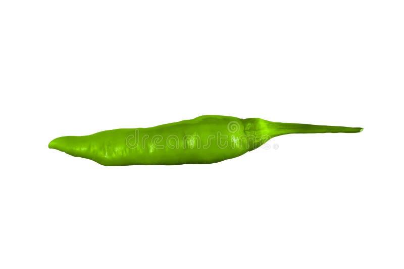 Groene hete peper op een witte achtergrond geplaatst royalty-vrije stock foto