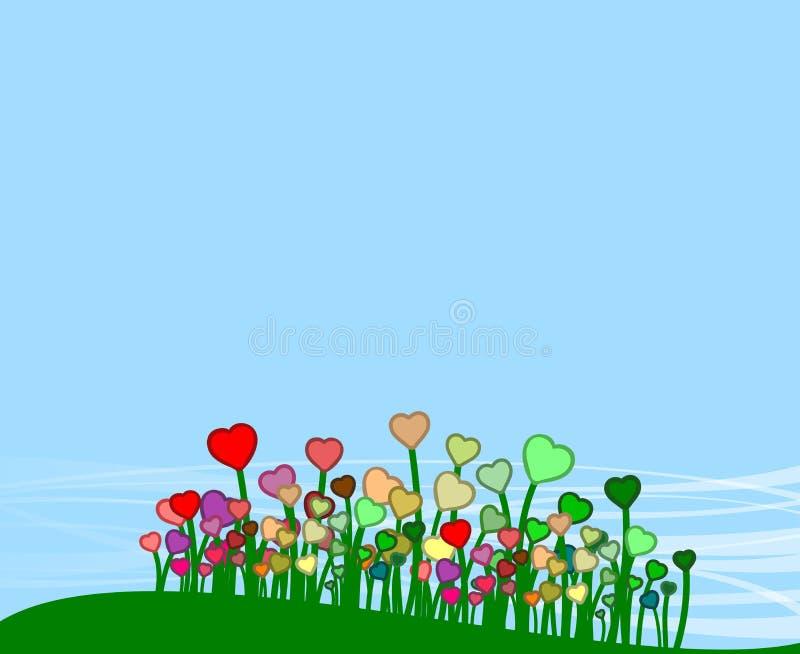 Groene heuvel met vele kleurrijke bloemen royalty-vrije illustratie