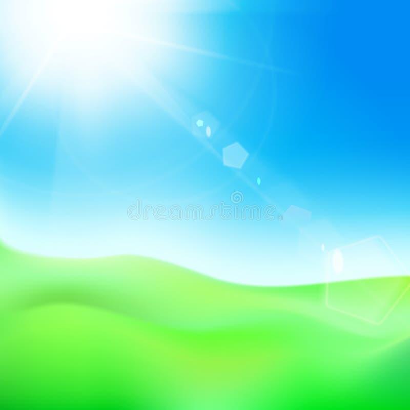 Groene heuvel onder blauwe hemelwhit zon. stock illustratie
