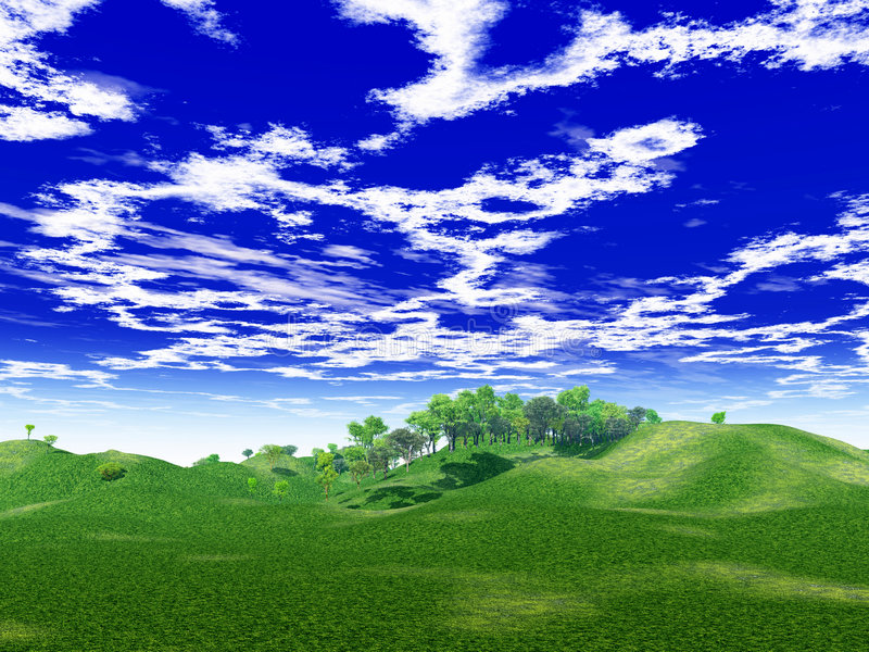 Groene heuvels stock illustratie