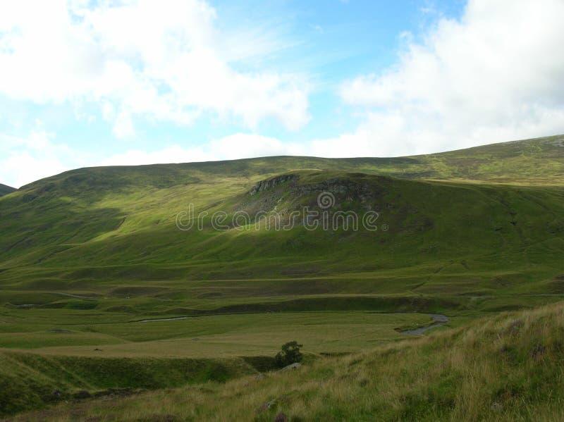 Groene Heuvels bij Glenshee-Vallei, Grampian-Bergen, Schotland stock fotografie