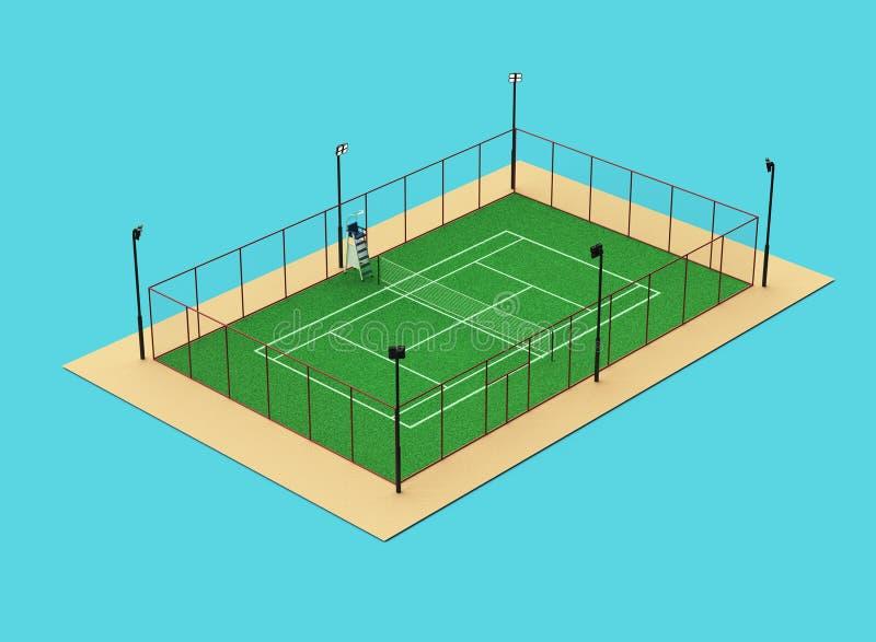 Groene hoge tennisbaan - de kwaliteit detalied gras teruggeeft geïsoleerd sportterrein stock illustratie