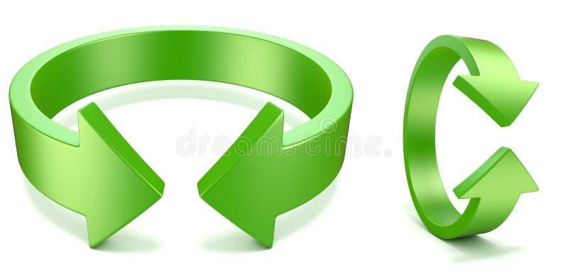 Groene, horizontale en verticale omwenteling, pijltekens 3d vector illustratie