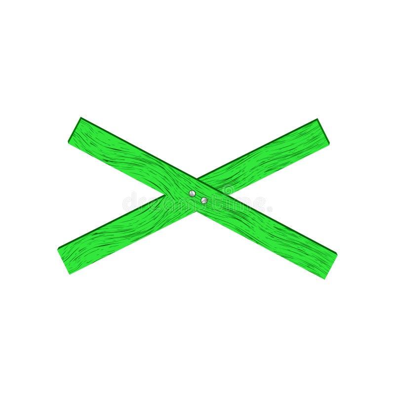 Groene houten barrière in dwarsvorm royalty-vrije stock fotografie