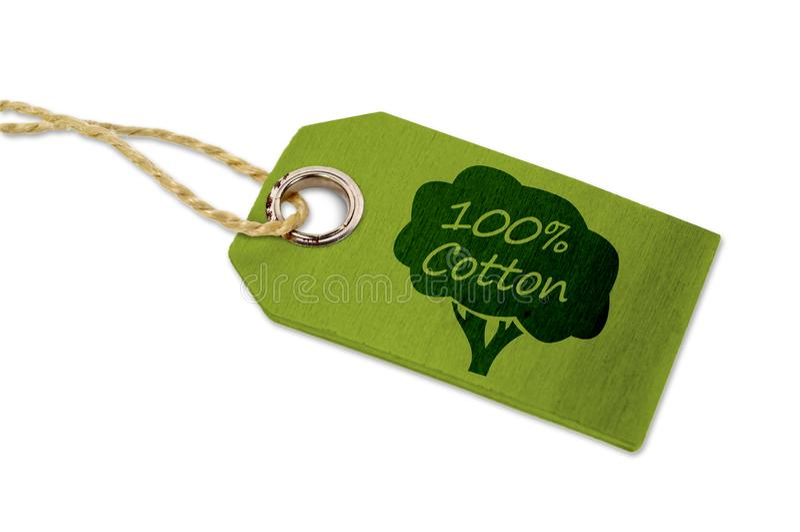 Groene houten hangt markering met 100%-katoen royalty-vrije stock foto's