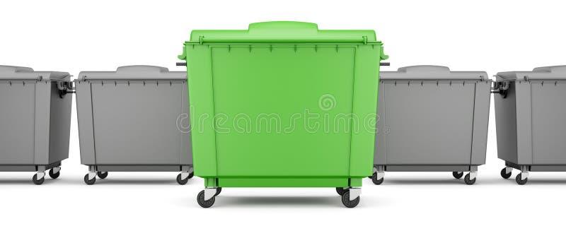 Groene huisvuilcontainer onder grijze containers die op wit worden geïsoleerd royalty-vrije illustratie