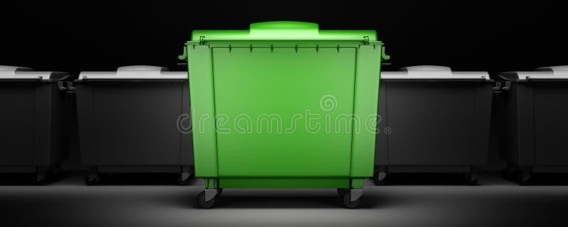 Groene huisvuilcontainer onder grijze geïsoleerde containers vector illustratie