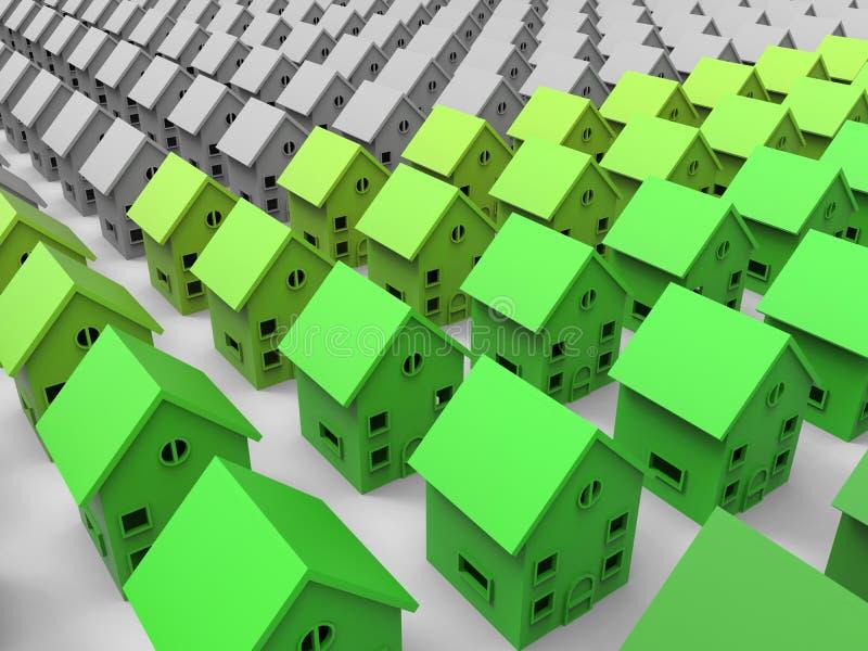 Groene huizenillustratie royalty-vrije illustratie