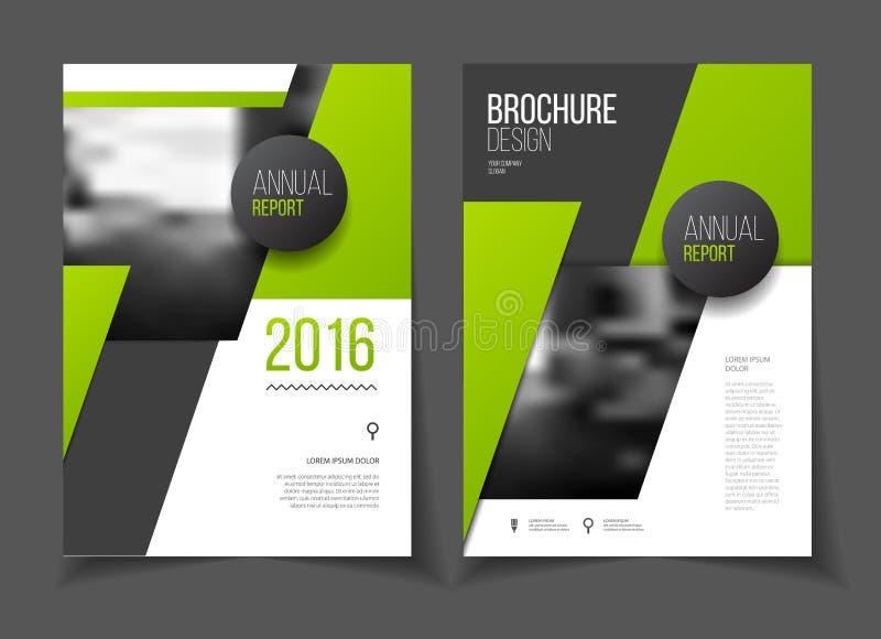 Groene jaarverslag Vectorillustratie Brochure met tekst A4 royalty-vrije illustratie