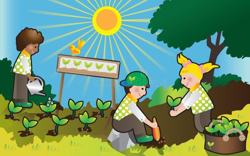 Groene jonge geitjes stock illustratie