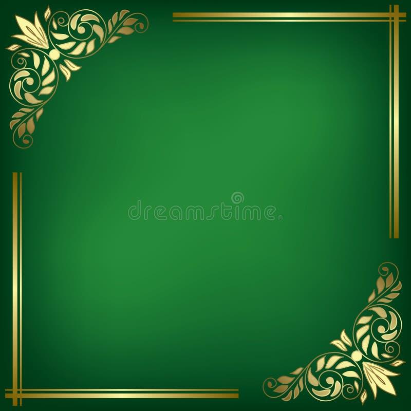 Groene kaart met gouden kader - vector stock illustratie
