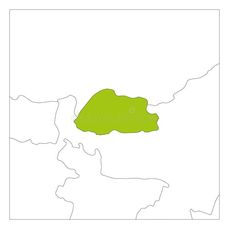 Groene kaart van Bahrein benadrukt met buurlanden vector illustratie