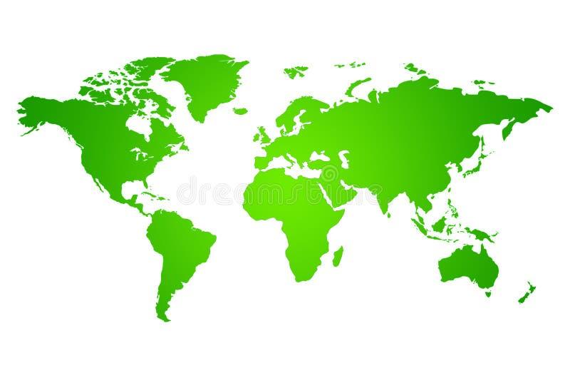 Groene kaart van de wereld stock illustratie