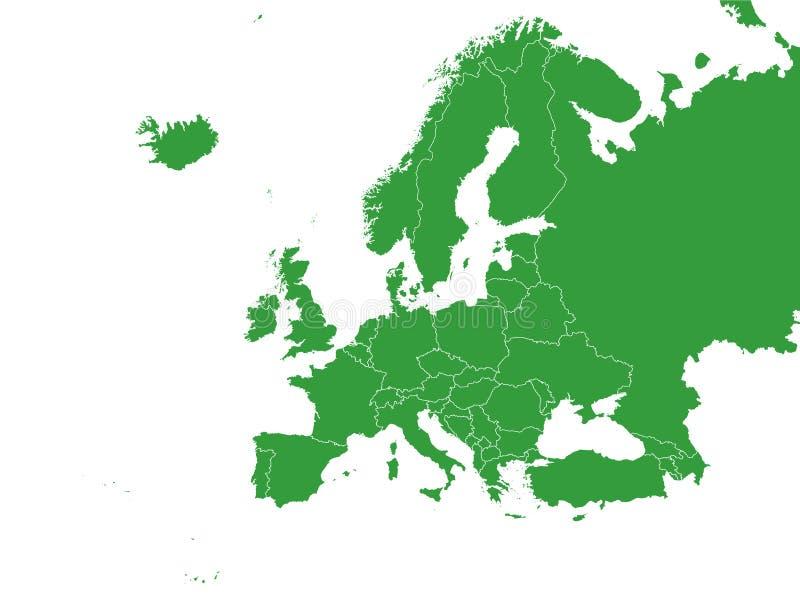 Groene Kaart van Europa met Landen op Witte Achtergrond royalty-vrije illustratie