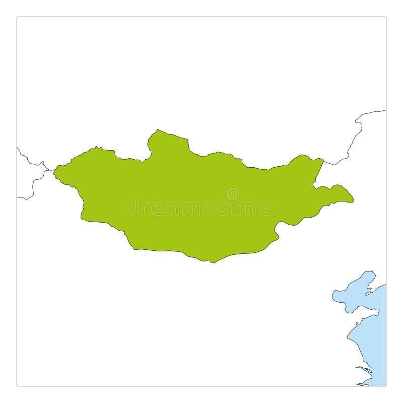 Groene kaart van Mongolië benadrukt met buurlanden vector illustratie