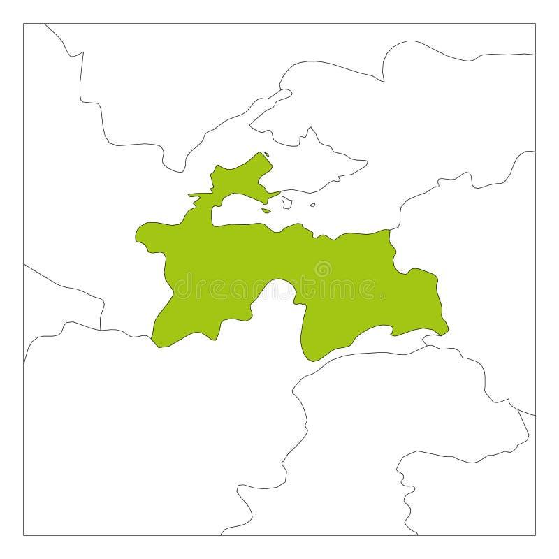 Groene kaart van Tadzjikistan benadrukt met buurlanden stock illustratie