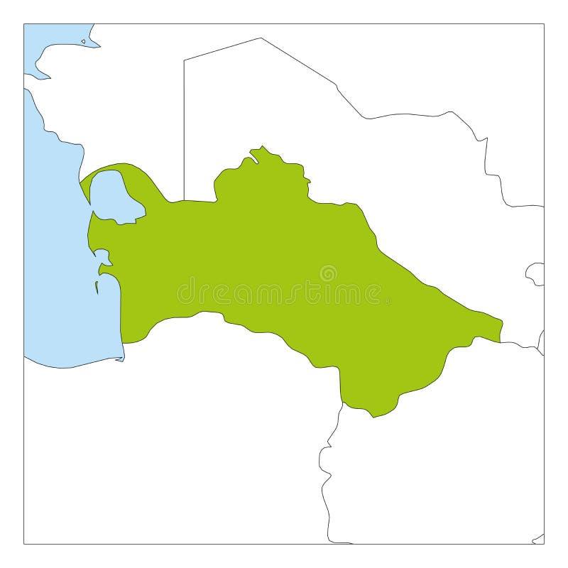 Groene kaart van Turkmenistan benadrukt met buurlanden royalty-vrije illustratie