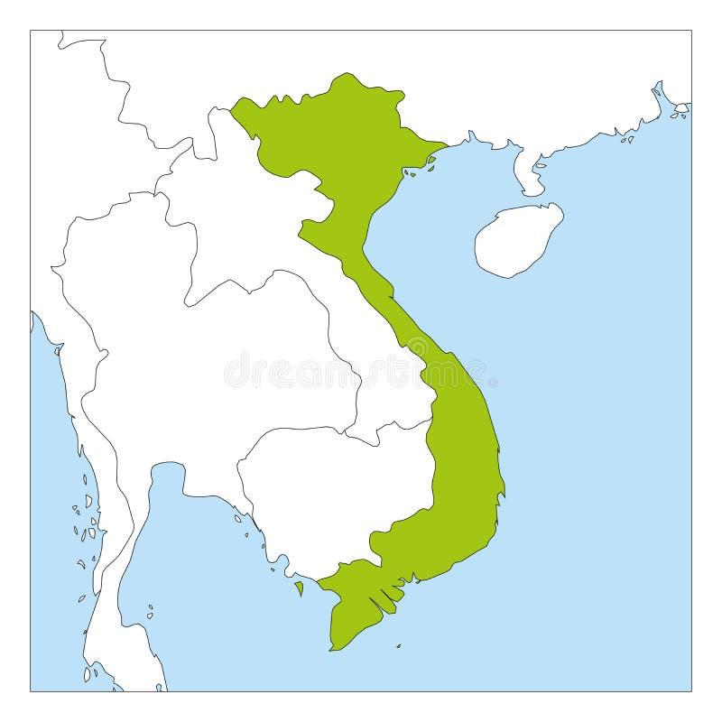 Groene kaart van Vietnam benadrukt met buurlanden stock illustratie