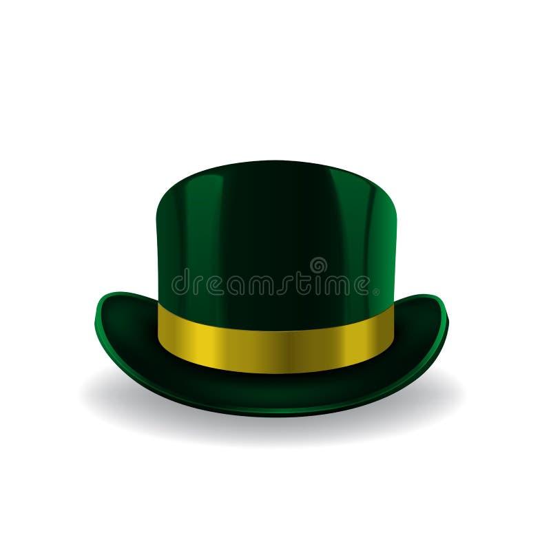 Groene kabouterhoed op witte achtergrond St Patricks hoed Vector illustratie royalty-vrije illustratie