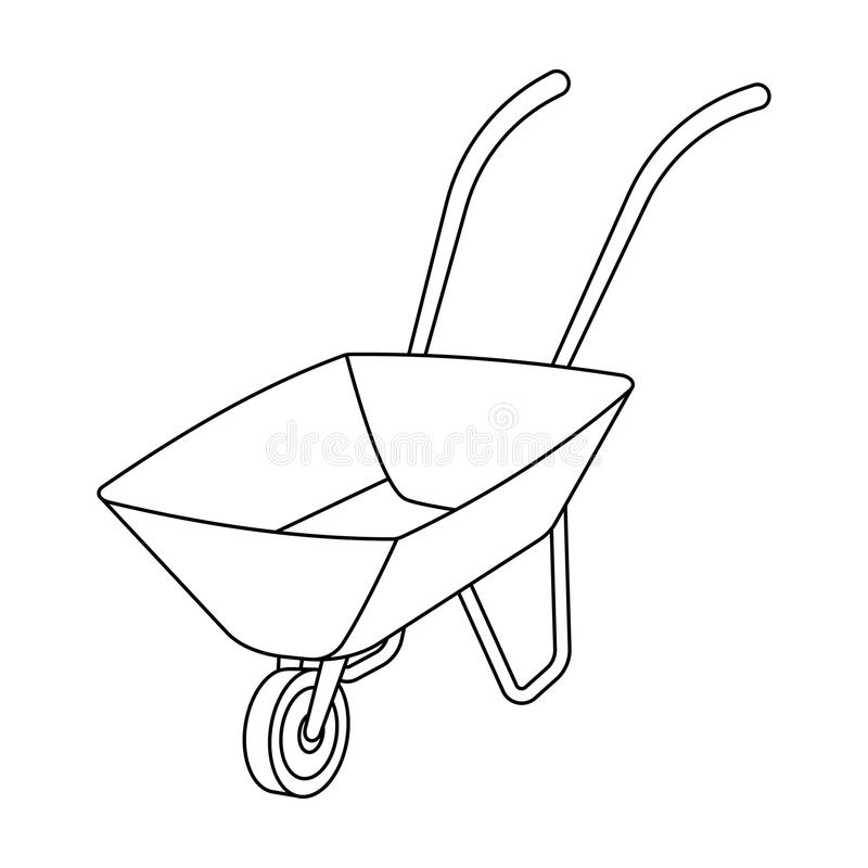 Groene kar met wiel en handvatten De middelen van vervoer van kleine ladingen op het grondgebied van de mijnen mijn vector illustratie