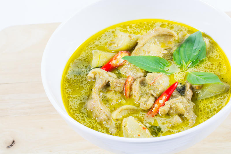 Groene kerriekip, Thais traditioneel en populair voedsel, Groen Cu royalty-vrije stock fotografie
