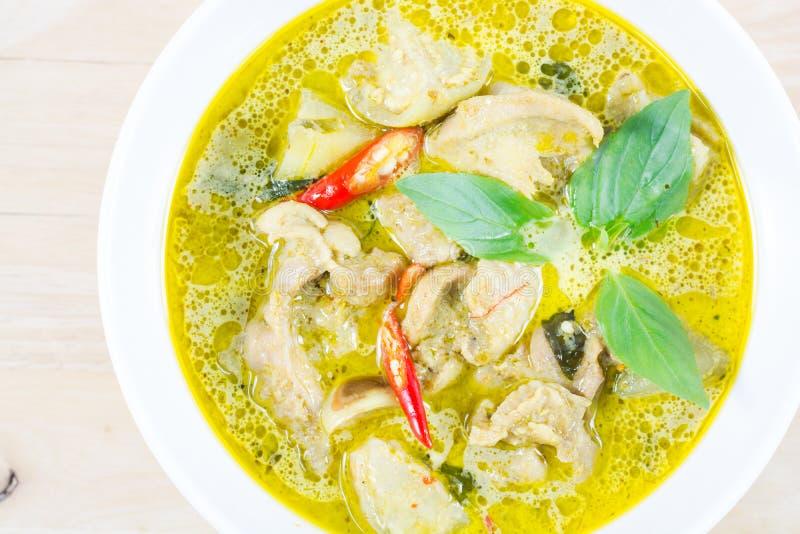 Groene kerriekip, Thais traditioneel en populair voedsel, Groen Cu stock afbeeldingen
