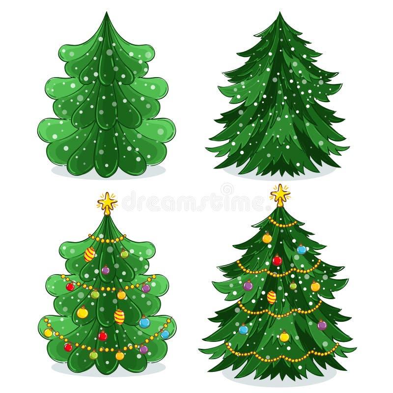 Groene Kerstboom die in beeldverhaalstijl wordt geplaatst stock illustratie