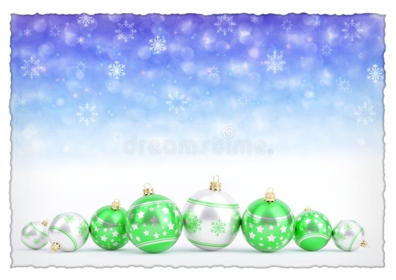 Groene Kerstmisballen op blauwe bokehachtergrond met sneeuwvlokken 3D Illustratie royalty-vrije illustratie