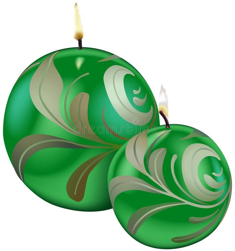 Groene Kerstmiskaarsen vector illustratie