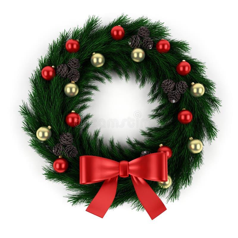 Groene Kerstmiskroon die op wit wordt geïsoleerd stock illustratie