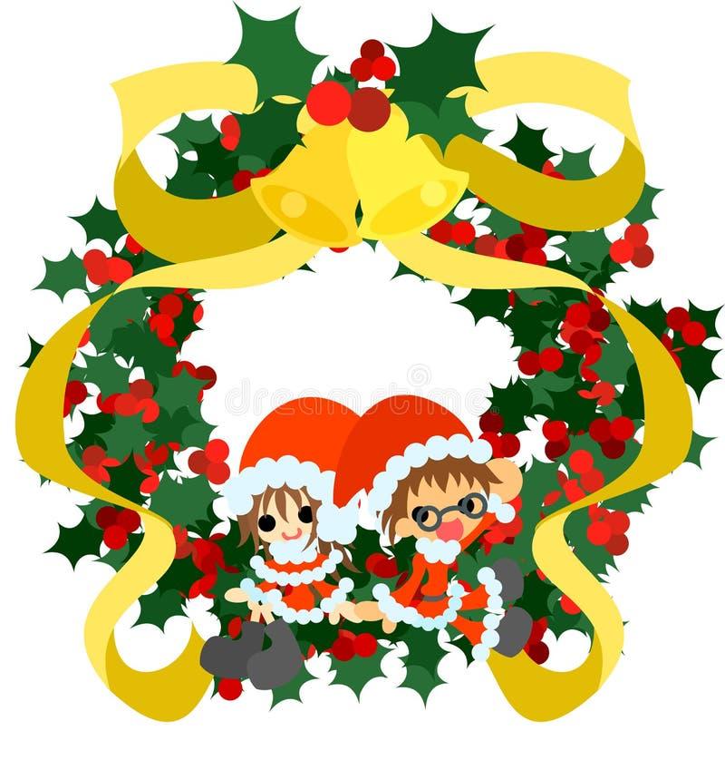 Groene Kerstmiskroon en Santa Claus vector illustratie