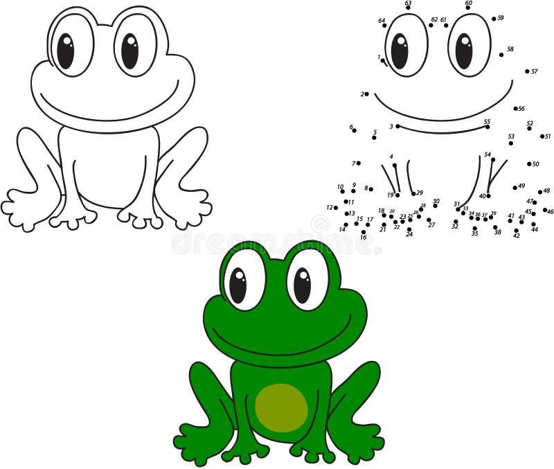 Groene kikker Vector illustratie Kleuring en punt om spel te stippelen vector illustratie