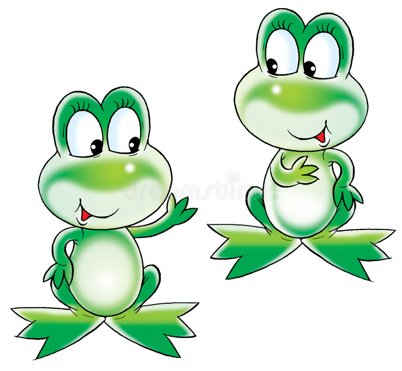 Groene kikkers royalty-vrije illustratie