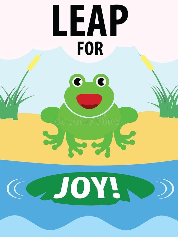 Groene Kikkersprong voor Joy Illustration vector illustratie
