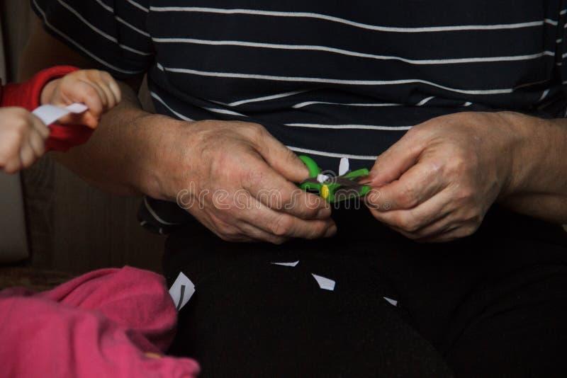 Groene kinderen` s veilige schaar in de handen van een oude mens naast de kleine baby houden de handvatten een stuk van gesneden  stock foto's